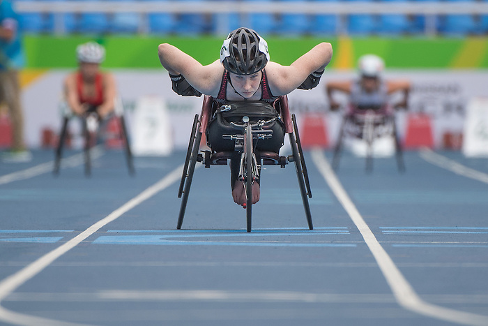 RIO DE JANEIRO - 8/9/2016:  Ilana Dupont warms up before competing in the Women's 100m - T53 Round 1 Heat in the Olympic Stadium during the Rio 2016 Paralympic Games. (Photo by Matthew Murnaghan/Canadian Paralympic Committee