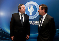 "**** NO FEE PIC***.12/04/2012 .(L to R) ICCL Director Mark Kelly,.Alan Shatter TD, Minister for Justice, Equality and Defence.during a conference on the ""The EU Directive on Victims Rights: Opportunities and Challenges for Ireland"" hosted by the the Irish Council for Civil Liberties (ICCL) in Dublin Castle..Photo: Gareth Chaney Collins"