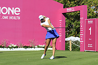 Defending Champion Anna Nordqvist (SWE) tees off the 1st tee during Thursday's Round 1 of The Evian Championship 2018, held at the Evian Resort Golf Club, Evian-les-Bains, France. 13th September 2018.<br /> Picture: Eoin Clarke | Golffile<br /> <br /> <br /> All photos usage must carry mandatory copyright credit (&copy; Golffile | Eoin Clarke)