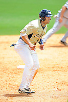 22 April 2012:  FIU infielder Mike Martinez (40) takes a lead off of second base as the University of Arkansas Little Rock Trojans defeated the FIU Golden Panthers, 7-6, at University Park Stadium in Miami, Florida.