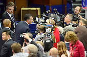 Mitt Romney, Republican Presidential Candidate, greets some media after participating in a microphone check prior to the start of the day's proceedings at the 2012 Republican National Convention in Tampa Bay, Florida on Thursday, August 30, 2012.  .Credit: Ron Sachs / CNP.(RESTRICTION: NO New York or New Jersey Newspapers or newspapers within a 75 mile radius of New York City)