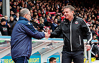 Bolton Wanderers' manager Phil Parkinson is greeted by Nottingham Forest's manager Martin O'Neill <br /> <br /> Photographer Andrew Kearns/CameraSport<br /> <br /> The EFL Sky Bet Championship - Nottingham Forest v Bolton Wanderers - Sunday 5th May 2019 - The City Ground - Nottingham<br /> <br /> World Copyright © 2019 CameraSport. All rights reserved. 43 Linden Ave. Countesthorpe. Leicester. England. LE8 5PG - Tel: +44 (0) 116 277 4147 - admin@camerasport.com - www.camerasport.com