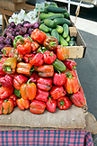 USA, Oregon, Ashland, Black Dog Farm bell peppers for sale at the Rogue Valley Growers and Crafters Market