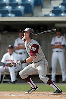 Tyler Naquin #18 of the Texas A&M Aggies bats against the Pepperdine Waves at Eddy D. Field Stadium on March 23, 2012 in Malibu,California. Texas A&M defeated Pepperdine 4-0.(Larry Goren/Four Seam Images)