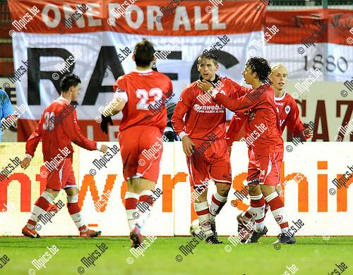 2010-12-11 / Voetbal / seizoen 2010-2011 / Antwerp FC - Tubeke / Kevin Oris kopte de 1-0 binnen voor Antwerp..Foto: Mpics