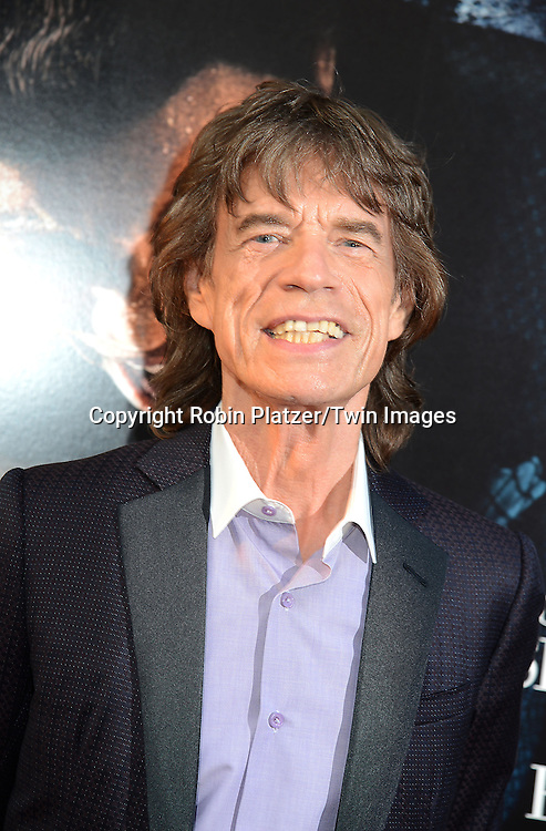 "producer Mick Jagger attends the World Premiere of ""Get On Up"" at the Apollo Theater in Harlem in New York Citiy on July 21, 2014."