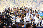 07 December 2014: Los Angeles captain Robbie Keane (IRL) lifts the Philip F. Anschutz trophy overhead. The Los Angeles Galaxy played the New England Revolution in Carson, California in MLS Cup 2014. Los Angeles won 2-1 in overtime.
