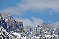 Mount Wilbur, Full Moon, new snow, Autumn at Glacier National Park