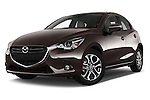 Stock pictures of low aggressive front three quarter view of a 2015 Mazda Mazda2 Pulse Edition 5 Door Hatchback 2WD Low Aggressive