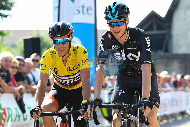 Friends race leader Yellow Jersey Richie Porte (AUS) BMC Racing Team and Chris Froome (GBR) Team Sky chat before the start of Stage 7 of the Criterium du Dauphine 2017, running 168km from Aoste to Alpe d'Huez, France. 10th June 2017. <br /> Picture: ASO/A.Broadway | Cyclefile<br /> <br /> <br /> All photos usage must carry mandatory copyright credit (&copy; Cyclefile | ASO/A.Broadway)