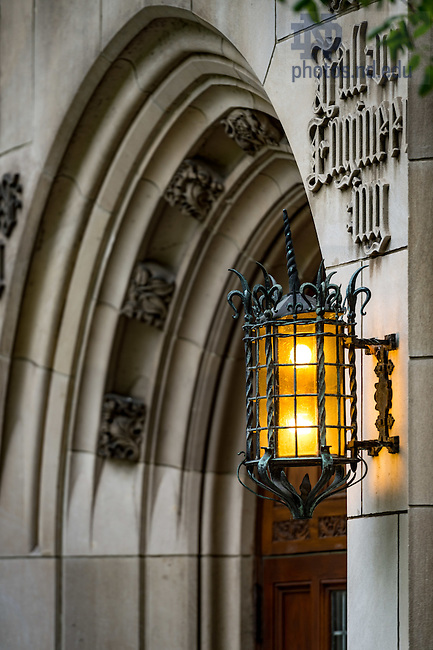 May 10, 2016; Ornamental lamp outside the main door to Cushing Hall of Engineering. (Photo by Matt Cashore/University of Notre Dame)
