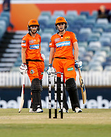 2nd November 2019; Western Australia Cricket Association Ground, Perth, Western Australia, Australia; Womens Big Bash League Cricket, Perth Scorchers versus Melbourne Stars; meg landing and Natalie Sciver of the Perth Scorchers chat in the middle - Editorial Use