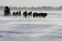 Saturday March 10, 2007   ----   Lance Mackey hunkers behind his sled as he runs on the Yukon River on Saturday between Eagle Island and Kaltag in a 35-45 mph headwind.