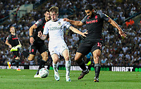 Leeds United's Jack Clarke shields the ball from Stoke City's Cameron Carter-Vickers<br /> <br /> Photographer Alex Dodd/CameraSport<br /> <br /> The Carabao Cup Second Round- Leeds United v Stoke City - Tuesday 27th August 2019  - Elland Road - Leeds<br />  <br /> World Copyright © 2019 CameraSport. All rights reserved. 43 Linden Ave. Countesthorpe. Leicester. England. LE8 5PG - Tel: +44 (0) 116 277 4147 - admin@camerasport.com - www.camerasport.com