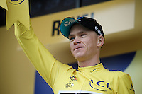 Chris Froome (GBR/SKY) in yellow on the podium after stage 10: Escaldes-Engordany (AND) - Revel (FR)<br /> <br /> 103rd Tour de France 2016