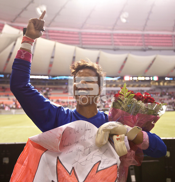 Canada goalkeeper Karina LeBlanc celebrates defeating Mexico in the CONCACAF Olympic Qualifying semifinal match at BC Place in Vancouver, B.C., Canada Friday Jan. 27, 2012. Canada won the match 3-1 to earn a berth in 2012 London Olympics.