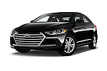 Stock pictures of low aggressive front three quarter view of 2017 Hyundai Elantra SE 4 Door Sedan Low Aggressive