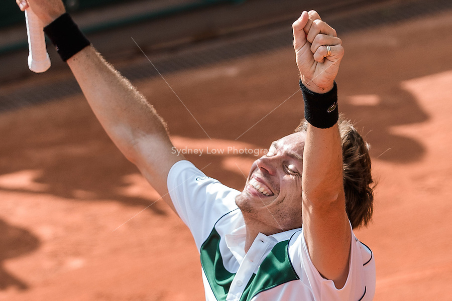 May 24, 2015: Nicolas Mahut (FRA) celebrates his won in a 1st round match against Kimmer Coppejans (BEL) on day one of the 2015 French Open tennis tournament at Roland Garros in Paris, France. Mahut won 63 64 76. Sydney Low/AsteriskImages
