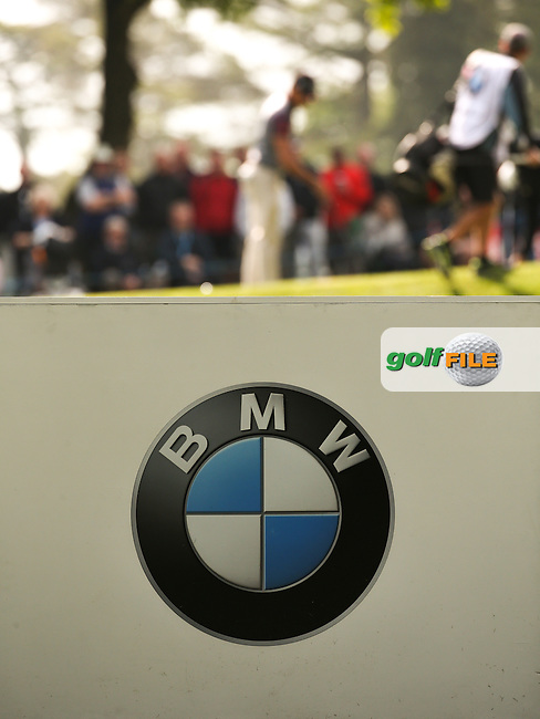 Backboard with Rafa Cabrera-Bello (ESP) in the background during Round Two of the 2016 BMW PGA Championship over the West Course at Wentworth, Virginia Water, London. 27/05/2016. Picture: Golffile | David Lloyd. <br /> <br /> All photo usage must display a mandatory copyright credit to &copy; Golffile | David Lloyd.