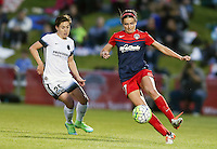 Boyds, MD - Saturday May 07, 2016: Portland Thorns FC defender Meghan Klingenberg (25) watches Washington Spirit forward Cali Farquharson (17) during a regular season National Women's Soccer League (NWSL) match at Maureen Hendricks Field, Maryland SoccerPlex. Washington Spirit tied the Portland Thorns 0-0.