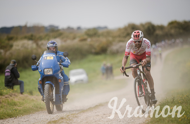 Loïc Chetout (FRA/Cofidis) escaping over the Breton gravel roads<br /> <br /> 36th TRO BRO LEON 2019 (FRA)<br /> One day race from Plouguerneau to Lannilis (205km)<br /> <br /> ©kramon