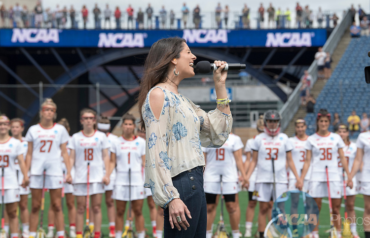 FOXBORO, MA - MAY 28: The national anthem is preformed ahead of the Division I Women's Lacrosse Championship held at Gillette Stadium on May 28, 2017 in Foxboro, Massachusetts. (Photo by Ben Solomon/NCAA Photos via Getty Images)