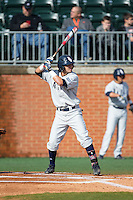 Stephen Kerr (6) of the Florida Atlantic Owls at bat against the Charlotte 49ers at Hayes Stadium on March 14, 2015 in Charlotte, North Carolina.  The Owls defeated the 49ers 8-3 in game one of a double header.  (Brian Westerholt/Four Seam Images)