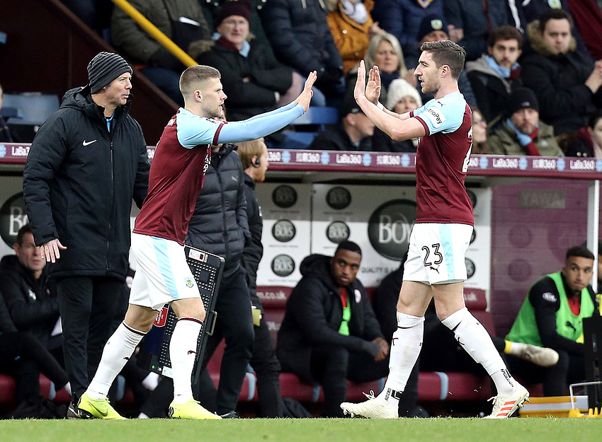 Burnley's Stephen Ward is replaced by Johann Gudmundsson<br /> <br /> Photographer Rich Linley/CameraSport<br /> <br /> Emirates FA Cup Third Round - Burnley v Barnsley - Saturday 5th January 2019 - Turf Moor - Burnley<br />  <br /> World Copyright © 2019 CameraSport. All rights reserved. 43 Linden Ave. Countesthorpe. Leicester. England. LE8 5PG - Tel: +44 (0) 116 277 4147 - admin@camerasport.com - www.camerasport.com