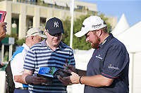 Shane Lowry (IRL) signing autographs after finishing his 1st round of the 2017 Portugal Masters, Dom Pedro Victoria Golf Course, Vilamoura, Portugal. 21/09/2017<br /> Picture: Fran Caffrey / Golffile<br /> <br /> All photo usage must carry mandatory copyright credit (&copy; Golffile | Fran Caffrey)