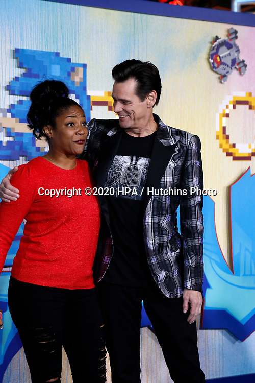 "LOS ANGELES - FEB 12:  Tiffany Haddish, Jim Carrey at the ""Sonic The Hedgehog"" Special Screening at the Village Theater on February 12, 2020 in Westwood, CA"