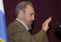 03 January 2004 - Havana -CUBA -FIDEL CASTRO- Cuban President Fidel Castro is seen as he delivers a speech Saturday Jan.03, 2004 at the Karl Marx Theater in Havana, Cuba, during the celebration of the 45th anniversary of Castro's victory in January 1959. . Credit: Jorge Rey/MediaPunch