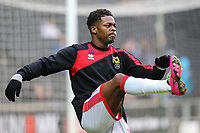Kieran Agard of MK Dons warms up ahead of the Sky Bet League 1 match between MK Dons and AFC Wimbledon at stadium:mk, Milton Keynes, England on 13 January 2018. Photo by David Horn.