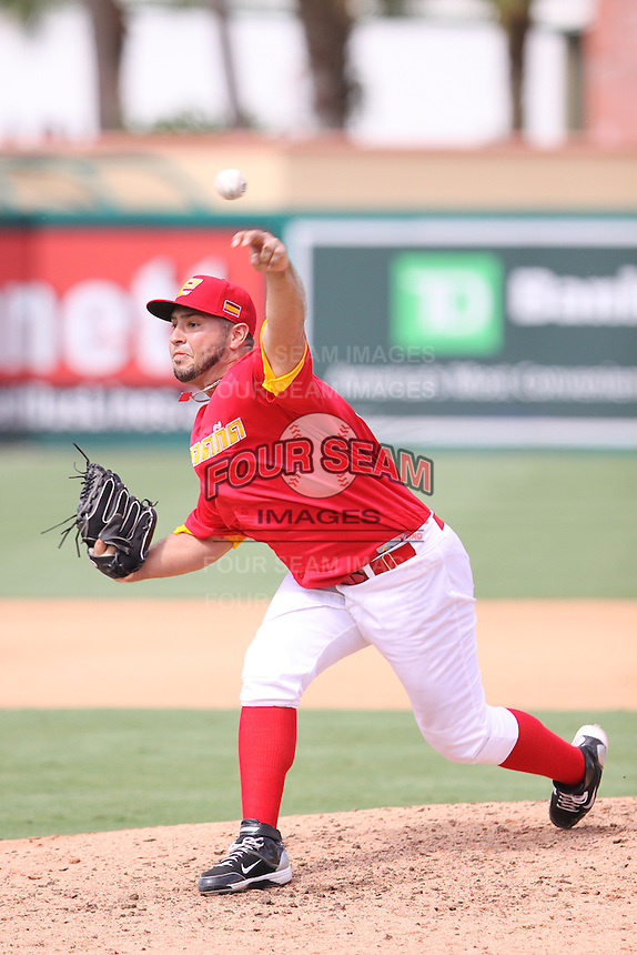 Ivan Granados of Team Spain delivers a pitch to the plate against Team Israel during the World Baseball Classic preliminary round at Roger Dean Stadium on September 21, 2012 in Jupiter, Florida. Team Israel defeated Team Spain 4-2. (Stacy Jo Grant/Four Seam Images)