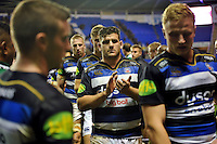 Rob Webber and the rest of the Bath Rugby team make their way off the pitch after the final whistle. Aviva Premiership match, between London Irish and Bath Rugby on November 7, 2015 at the Madejski Stadium in Reading, England. Photo by: Patrick Khachfe / Onside Images
