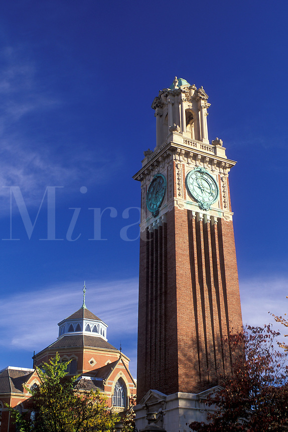 university, clock tower, Providence, Rhode Island, RI, Carrie Tower on the campus of Brown University in Providence in the fall.
