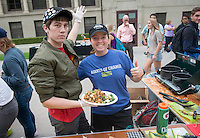 """Food Justice House"" Grace Bender '15 and Nick Justice '17. Occidental College students compete in the Iron Chef competition, sponsored by FEAST, in the AGC Quad on Oct. 31, 2014. Competitors were given ingredient options and a time limit to create a dish, which was judged by faculty and staff. (Photo by Marc Campos, Occidental College Photographer)"