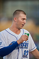 Logan Moon (32) of the Omaha Storm Chasers during the game against the Round Rock Express at Werner Park on May 27, 2018 in Papillion , Nebraska. Round Rock defeated Omaha 8-3. (Stephen Smith/Four Seam Images)