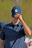 Jordan Spieth (USA) reacts to missing a par putt on the 18th hole which caused him to miss the cut during the second round of the 118th U.S. Open Championship at Shinnecock Hills Golf Club in Southampton, NY, USA. 15th June 2018.<br /> Picture: Golffile | Brian Spurlock<br /> <br /> <br /> All photo usage must carry mandatory copyright credit (&copy; Golffile | Brian Spurlock)