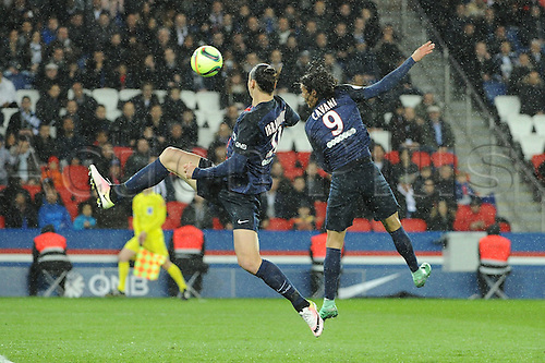 29.04.2016. Paris, France. French league 1 football. Paris St German versus Rennes.  ZLATAN IBRAHIMOVIC (psg) - EDINSON CAVANI (psg)