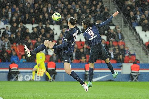 29.04.2016. Paris, France. French league 1 football. Paris St German versus Rennes.  ZLATAN IBRAHIMOVIC (psg) - EDINSON CAVANI (psg)