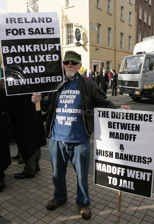 09/03/2011.Protester Eamon Reid.during the 1st day of the 31st Dail.at Leinster House,  Dublin..Photo: Gareth Chaney Collins