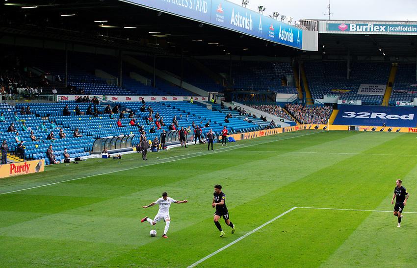 Leeds United's Pablo Hernandez takes on Charlton Athletic's Macauley Bonne<br /> <br /> Photographer Alex Dodd/CameraSport<br /> <br /> The EFL Sky Bet Championship - Leeds United v Charlton Athletic - Wednesday July 22nd 2020 - Elland Road - Leeds <br /> <br /> World Copyright © 2020 CameraSport. All rights reserved. 43 Linden Ave. Countesthorpe. Leicester. England. LE8 5PG - Tel: +44 (0) 116 277 4147 - admin@camerasport.com - www.camerasport.com