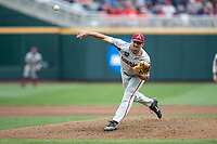 Arkansas Razorbacks pitcher Connor Noland (13) delivers a pitch to the plate during Game 5 of the NCAA College World Series against the Texas Tech Red Raiders on June 17, 2019 at TD Ameritrade Park in Omaha, Nebraska. Texas Tech defeated Arkansas 5-4. (Andrew Woolley/Four Seam Images)