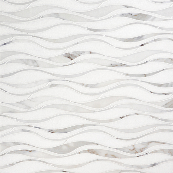 Oasis, a natural stone waterjet mosaic shown in honed Thassos and polished Calacatta Tia, is part of the Silk Road collection by New Ravenna.
