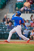 Midland RockHounds left fielder B.J. Boyd (9) follows through on a swing during a game against the Arkansas Travelers on May 25, 2017 at Dickey-Stephens Park in Little Rock, Arkansas.  Midland defeated Arkansas 8-1.  (Mike Janes/Four Seam Images)