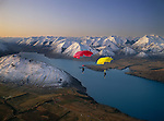 Parachutists over Lake Coleridge. Canterbury New Zealand.