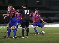 Thomas Reilly shoots to score in the St Mirren v Celtic Clydesdale Bank Scottish Premier League U20 match played at St Mirren Park, Paisley on 18.12.12.
