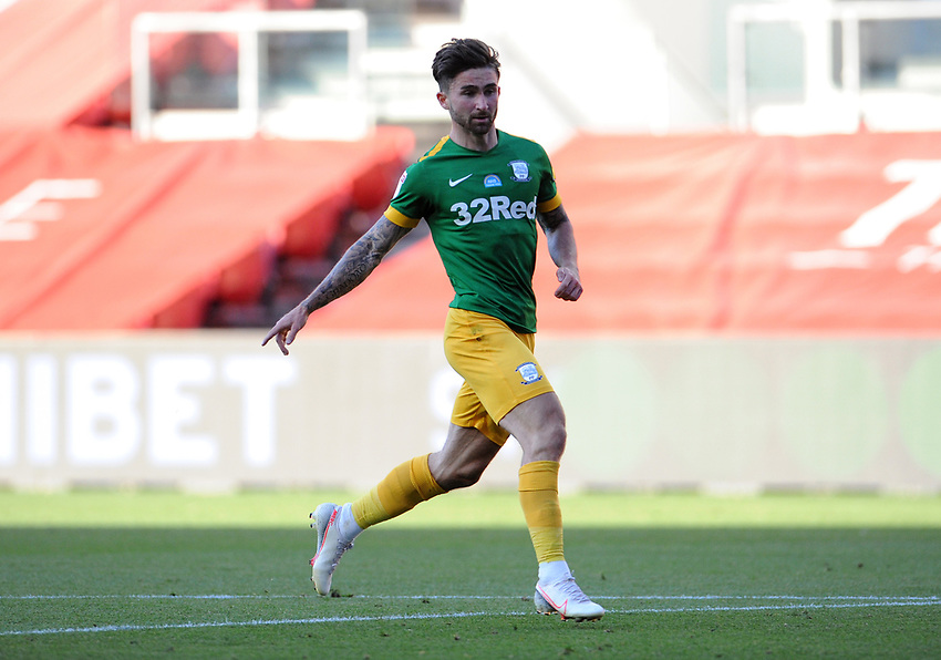 Preston North End's Sean Maguire during the game<br /> <br /> Photographer Ian Cook/CameraSport<br /> <br /> The EFL Sky Bet Championship - Bristol City v Preston North End - Wednesday July 22nd 2020 - Ashton Gate Stadium - Bristol <br /> <br /> World Copyright © 2020 CameraSport. All rights reserved. 43 Linden Ave. Countesthorpe. Leicester. England. LE8 5PG - Tel: +44 (0) 116 277 4147 - admin@camerasport.com - www.camerasport.com