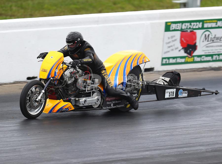 May 20, 2017; Topeka, KS, USA; NHRA top fuel nitro Harley Davidson rider Dustin Werner during qualifying for the Heartland Nationals at Heartland Park Topeka. Mandatory Credit: Mark J. Rebilas-USA TODAY Sports
