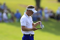 Luke Donald (ENG) on the 18th green during Friday's Round 2 of the 2017 PGA Championship held at Quail Hollow Golf Club, Charlotte, North Carolina, USA. 11th August 2017.<br /> Picture: Eoin Clarke | Golffile<br /> <br /> <br /> All photos usage must carry mandatory copyright credit (&copy; Golffile | Eoin Clarke)
